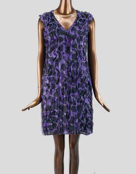 Moschino Cheap and Chic purple and black sleeveless silk mini shift evening dress Size: 6 US