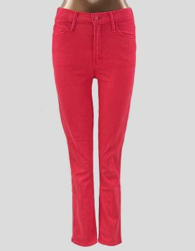 Mother mid-rise dazzler ankle jeans in burnt red. 5-pocket styling with zip fly and button closure Size: 26 US
