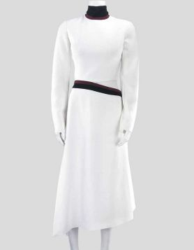 Mugler white cutout design ponte midi dress in a tailored fit