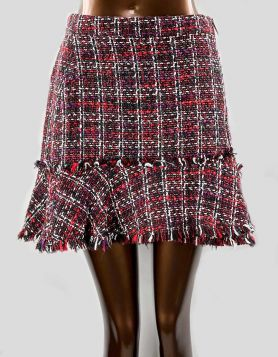 Naked Zebra classic woven tweed mini skirt with a flirty flared hem Size: Small