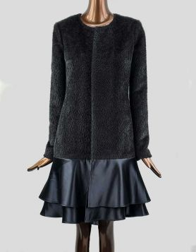 One-of-a-kind, handmade luxurious faux fur, open-style evening coat is three-quarter length with a crewneck flat collar and satin flounce two-layered bottom