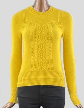 Bright yellow cashmere crewneck sweater with long sleeves and cable design on front and back.