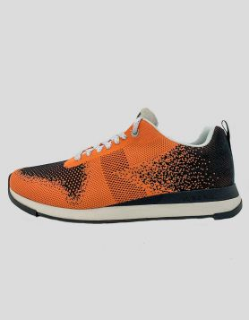 NWT Paul Smith men's Rappid Dark Orange Chevron knitted sneakers with rubber sole