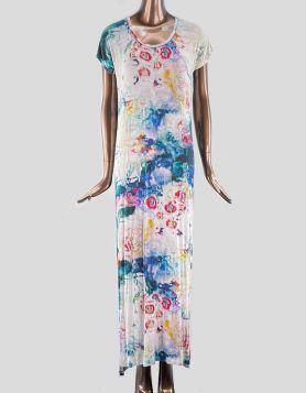 Paul Smith Hi-Lo Long T-Shirt Dress. Crewneck with short sleeves. Abstract print throughout.