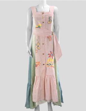 Peter Pilotto sleeveless linen button-front, multi-color maxi dress