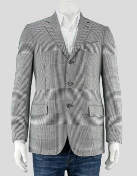 Piombo men's black and white sport coat in houndstooth print with notched lapels & dual back vent. Five pockets & satin lining. Size 38 US