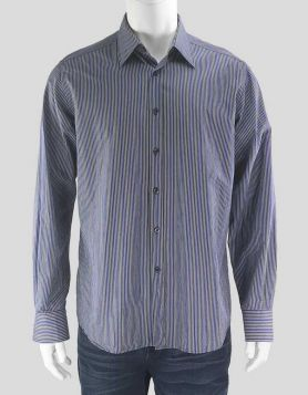 Prada blue, purple and grey striped button-down dress shirt with single barrel cuff Size 42 EU