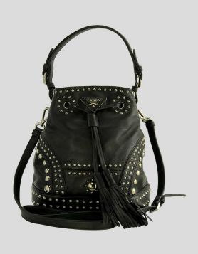 Prada Women's Black Soft Calf Bucket Bag