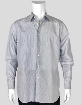 Prada blue and white pinstriped tailored button-down dress shirt with single-button barrel cuffs Size 41/16