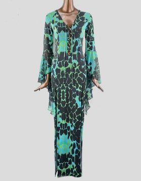 Priscillas Designs floor-length dress with double front slits. Abstract sea green and navy blue design throughout, with lace-up front and layered tulip sleeves Size: Small