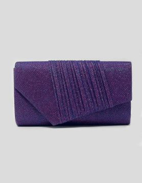 Purple Glitter evening clutch bag with layered design on exterior flap