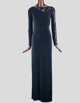 Emilio Pucci Long Sleeve Wrap Gown. Featuring a Bateau neckline, black jersey material, an elegant black see-through lace on back and left arm. Side ruching.
