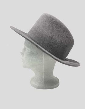 Rag & Bone grey wool fedora hat featuring a concave top and a short floppy brim. Interior band.