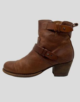 Rag & Bone brown Leather ankle Moto Boots 37.5 IT