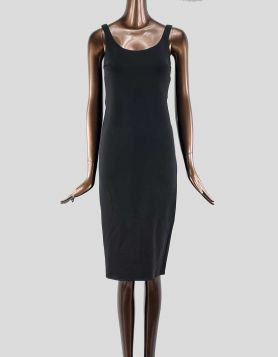 Rag & Bone Nile dress. Classic black dress. Stretch jersey knit tank dress features a scoop neckline, and a rolled edge hem that hits below the knee.
