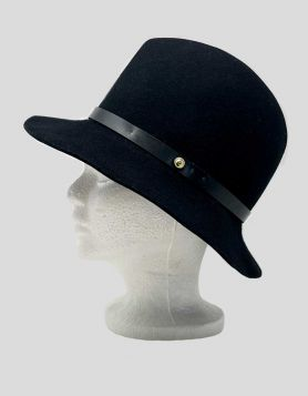 Rag & Bone black wool bucket hat featuring a concave top a short brim, and leather trim. Interior band.