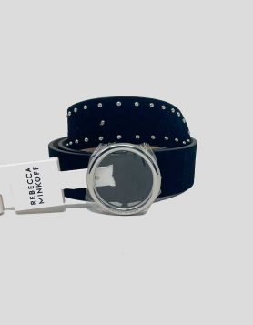 Rebecca Minkoff black suede belt with silver round buckle and studs. Genuine leather.