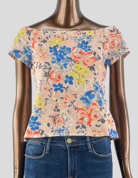 NWT Rebecca Taylor pink floral off-the-shoulder cotton top - Large