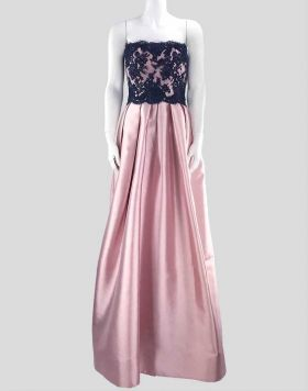 Reem Acra strapless silk-blend and lace gown in baby-pink and midnight-blue