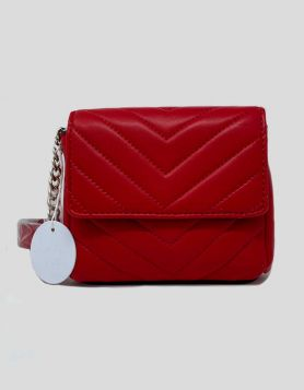 Reth Sawyer waist pack in a red quilted style that can also be worn as a clutch, shoulder bag or crossbody bag with attached chain.