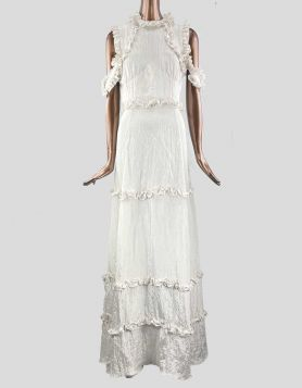 Rodarte + Opening Ceremony tiered maxi dress with off-the-shoulder ruffles. High neck with concealed back zipper. Size: Medium