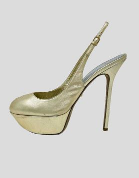 Sergio Rossi slingback platform pumps in gold-tone leather Size 39.5 IT