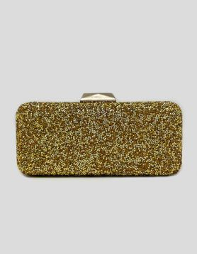 Saks Fifth Avenue gold-encrusted crystal jewel-box clutch bag with push-lock closure