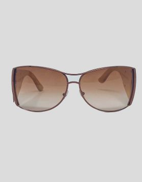 Stella McCartney Brow Bar Aviator Sunglasses with rose brass trim and tinted lenses, with wooden arms