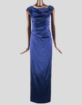 Talbot Runhof Sleeveless Satin Column Gown in elasticated satin. Column silhouette with wide V-neck. Size 6 US