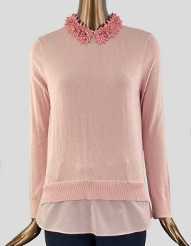 Ted Baker London Nansea Floral Collar Sweater in light pink.  Long sleeve with a tiered hemline and point collar with flower applique Size 1