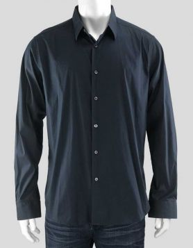 Theory men's dark blue button-down dress shirt with single barrel cuffs Size: X-Large