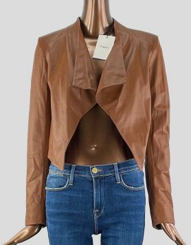 NWT Theory women's tan leather blazer - front angle