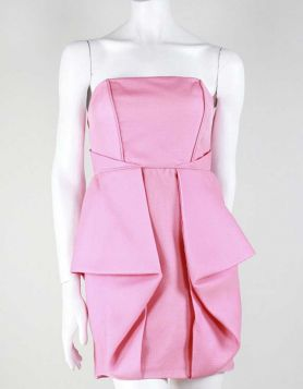 Tibi hot pink strapless, mini cocktail dress with front pleating Size 4 US