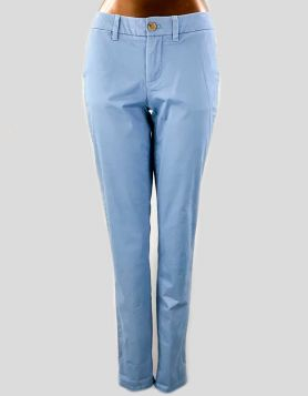 Tommy Hilfiger Stretch Slim Chino pants in pale blue. Button and zipper closure with belt loops. Size 0 US