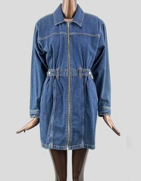 Topshop Zip Thru Denim Dress with spread collar and long sleeves. Button cuffs. Zip front. Accent waistband. Size 6 US