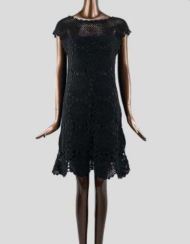 Trina Turk Black Crochet Knit Sheath Dress with cap sleeves Size: Large