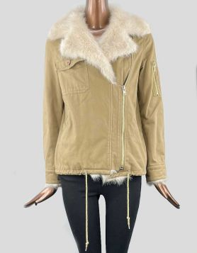 UNIF Army Sherpa Jacket featuring faux fur oversized collar, with fur detail on cuffs and down the front. Size: X-Small