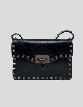 Valentino Garavani Small Rockstud Smooth Leather Bag featuring silver-tone studded details