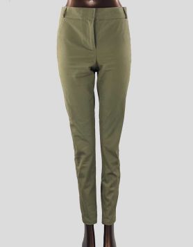 Veronica Beard Skinny Leg Pants in green cotton. Mid-rise with zip & button closure. Size: 6 US