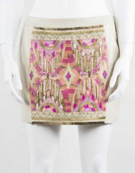Kora Rae First Born embellished leather mini skirt with exposed gold-tone zipper in back