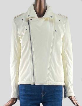 Wanda Nylon Paris ivory ski jacket featuring diagonal zip front closure, epaulets at shoulder, and double snap adjustable feature on back.