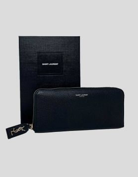 Saint Laurent Rive Gauche Zip-around Wallet in grained leather