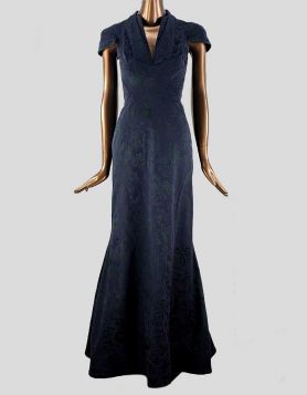 Zac Posen dark blue, short-sleeved high-low black-tie dress featuring a deep V neckline, mermaid cut, and embroidered floral print throughout
