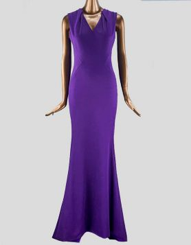 Zac Posen purple sleeveless gown featuring a V neckline, mermaid cut and concealed back zip closure