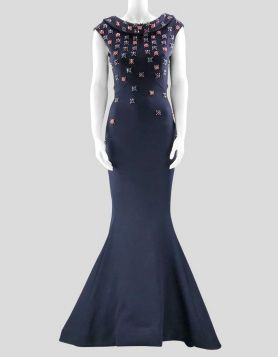 Limited-edition Zac Posen midnight navy embroidered evening gown from the Zac Posen Resort 2018 Collection