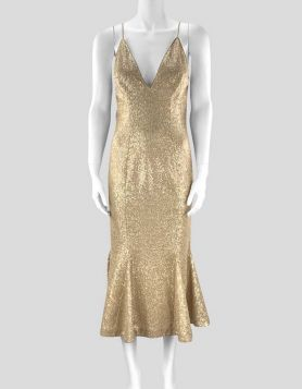ZAC Zac Posen Robin Dress in gold sequined chiffon from the Resort 2019 Collection